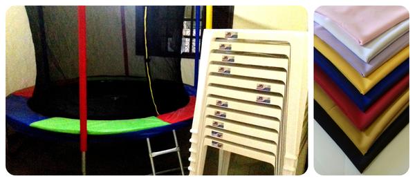 Aluguel de pula-pula + 10 jogos de mesas e cadeiras com toalhas